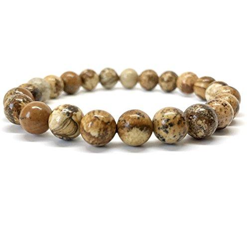 GOOD.designs Chakra Perlen-Armband aus 8 mm Meeressediment Jaspis-Natursteinen, Edelstein-Armband aus Jade (Beige)