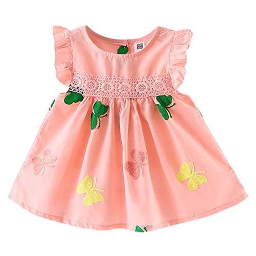 ung Mädchen Spitze Party Prinzessin Kleid Mode Wild Ärmelloses Kleid Sommer Weste Kurzes Kleid Schmetterling Stickerei A-Linien Kleid Baumwolle Party Minikleid ()