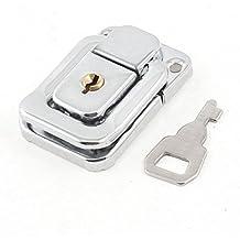 Sourcingmap a14030400ux0248 - Tono plateado caso maletas de acero inoxidable caja de cerrojo de bloqueo de cierre w clave