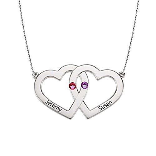 HACOOL personalisierte 925 Sterling Silver Heart mit Heart Name Halskette Custom Made mit 2 Namen (Silber) (Geburt Halskette Blume Monat)