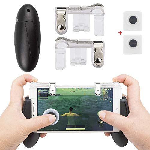 EAONE Mobile Game-Controller, Sensitive Shoot Aim Trigger Fire Buttons Tragbares Gamepad mit 2 Saugnäpfen für PUBG/Fortnite/Regeln des Survival/Messer Out Passt auf iOS Android 11,9-16,5 cm Handy