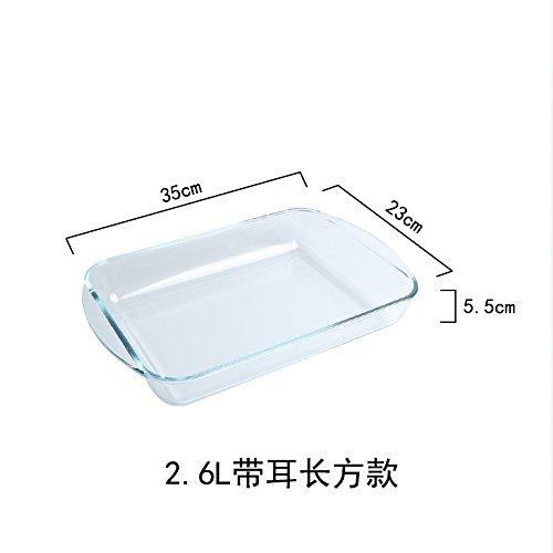 emissionsarmes glas backformmikrowelle erhitzen teller rechteckig reisgericht haushalte,2.6l/ mit ohr rechteck