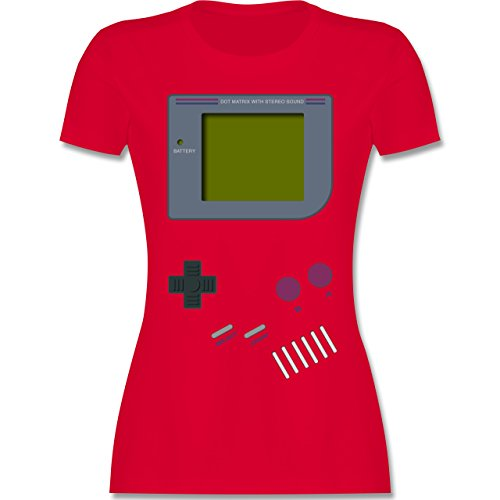 (Nerds & Geeks - Gameboy - M - Rot - L191 - Damen T-Shirt Rundhals)