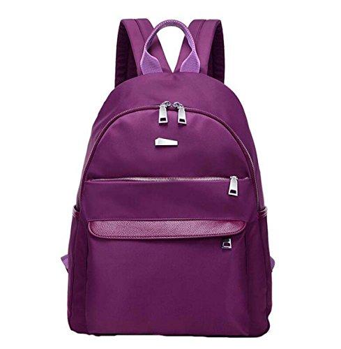 Nylon Tuch Rucksack Weiblichen Einfachen Wasserdichten Oxford Tuch Lässig Schulter Tasche Mittelschule Schüler Rucksack Purple