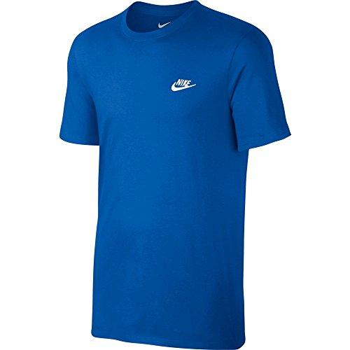 Nike Herren Club Embroidered Futura T-Shirt, Mehrfarbig (Königsblau / Weiß), M -