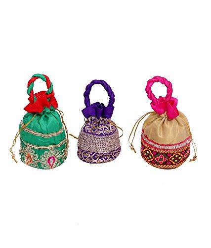 """Kuber Industriesâ""""¢ Designer Potli Bag, Make up Bag, Hand Bag Set of 3 Pcs (Brocade)"""
