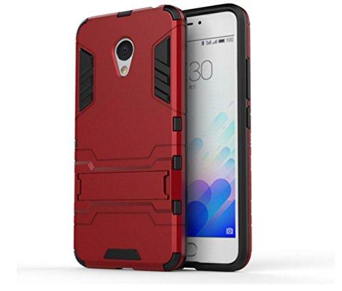 Bllosem Meizu M3 Note Hülle Hybride Dual-Layer PC+TPU Kompletter Schutz Standfunktion Tasche für Meizu M3 Note Rot