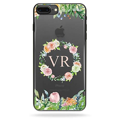 Hairyworm Personalisiert Initialen Blumen Handyhülle, Erwähnt Blumen Druck Telefonhülle, Monogramm Klar Handyhülle - Blume Ring, Motorola Moto C (2017) Ring Moc