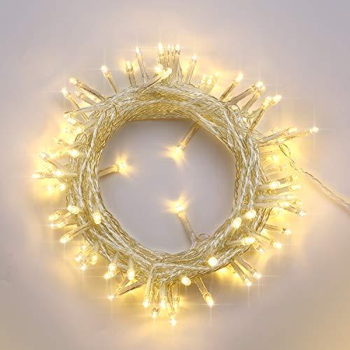 NEXVIN 100 LED Lichterkette Strombetrieben, 12m Lichterketten Warmweiß mit EU stecker, 8 Modi, fuer Innen Zimmer Bett Hochzeit Party Schlafzimmer Weihnachten Tannenbaum