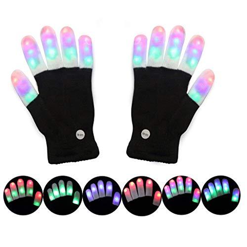 inkende Handschuhe, LED Handschuhe Finger Lichter 3 Farben 6 Modi Blinken Rave Handschuhe Party Gefälligkeiten Leuchten Spielzeug Neuheit ()