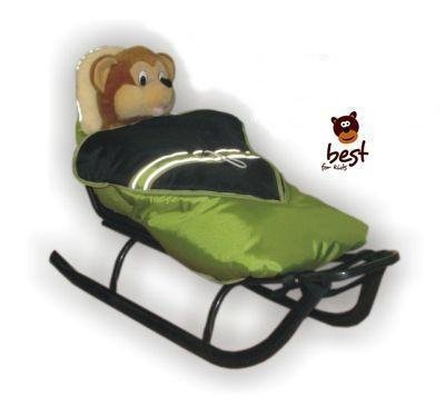 Schlitten für Kinder mit Fußsack, Rückenlehne und Schiebegriff - multifunktionell- Farbwahl NEU - EU Produkt (Grün-Schwarz, (Hörnerschlitten Mit Rückenlehne)