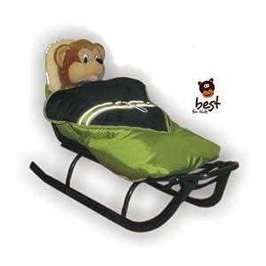 Best For Kids Schlitten für Kinder mit Fußsack, Rückenlehne und Schiebegriff – multifunktionell- Farbwahl EU Produkt