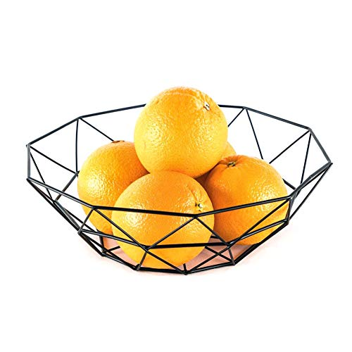 Hihey Obstschale Metall - dekorativer Obstkorb - Obst Aufbewahrung für mehr Vitamine in Ihrem Alltag, eine schöne Dekoration (Schwarz) -