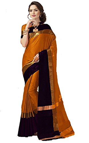 Perfectblue Cotton Silk Saree (Mainorangebalckvisva_Orange)