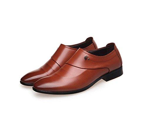 GRRONG Herren Leder Schuhe Echtes Leder Spitz Business Formal Kleid Schwarz Braun Brown