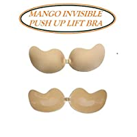 Women Invisible Reusable Bra Strapless Self Adhesive Bras Strapless Backless Push Up Bra Lift Bra (Beige, B)