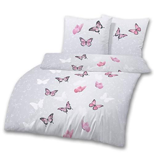 Schmetterling-e Bettwäsche Set 2 tlg. - Kissenbezug 80x80 + Bettbezug 135x200 cm · Mädchenbettwäsche · FLY SWEET BUTTERFLY - 100% Baumwolle - Für Zimmer Dekor Mädchen Pferd
