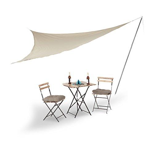 Relaxdays Sonnensegel groß mit Stange, dreieckig, Polyester, UV-beständig
