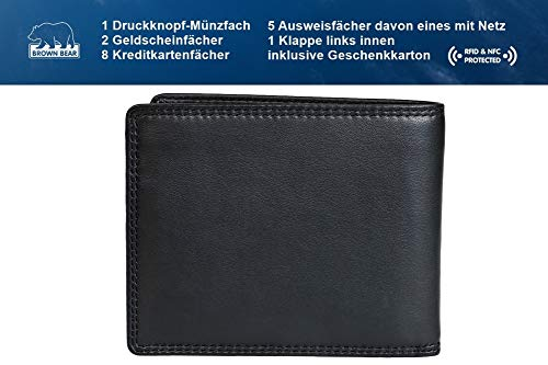 Brown Bear Geldbörse Herren Leder schwarz 8005 D bk - 5