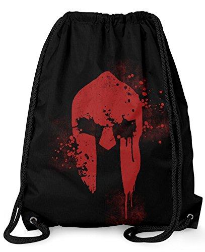 Stylotex Turnbeutel Spartan Helmet Hipster Beutel Gym Bag Tasche Stringbag Beuteltasche, Farbe:schwarz
