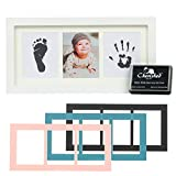 Cherished Baby Handprint & Footprint Photo Frame Kit with Newborn-Safe Memory Ink Pad - Perfect Keepsake Gift for New Parents - Baby Shower Present - Tiny Hands & Feet Inking Kit
