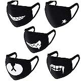 DWE Gesichtsmaske, schwarz, süßer Staubschutz, Winter, warme Ohrschlaufe, für Männer und Frauen