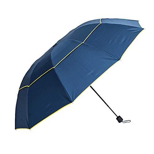 Dyyicun12 - ombrello doppio extra large con 3 pieghe, antivento, anti-uv, impermeabile blu