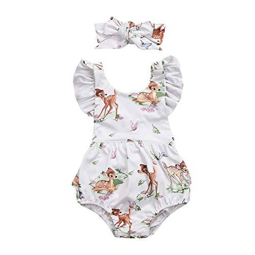 and Stirnband, Spielanzug Baby Babystrampler Sommer Bodycon Playsuit Strand Strampler Mädchen Baby Schlafstrampler Babykleidung Neugeborenen Set Babybody ()