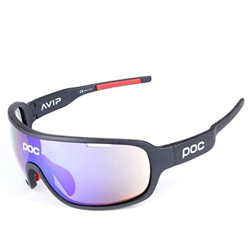 Coolline all'aperto equitazione intero montatura polarizzata occhiali/occhiale ciclismo da sole sportivi, go vento e sabbia radiazioni occhiali/compatto, leggero indossare sensazione di comfort , black