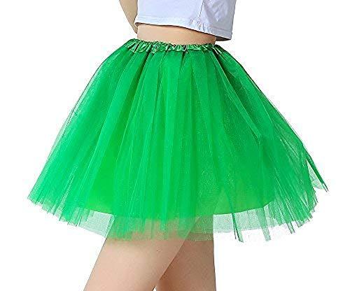 iLoveCos 80er Jahre Neon Tütü/Tutu/Tüllrock/Unterrock Petticoat Rüschen Geschichteten Pink Regenbogen Rot Rock Kleid Kostüm 1980er Jahre Neon Fancy Dress Outfit Zubehör für Kinder (Green)