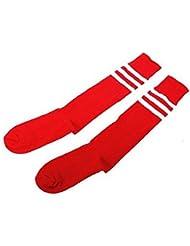 ETHAHE Chaussettes de Foot Longues Epaisses 3 bandes en Coton Blanc et Rouge