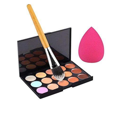 Susenstone Pinceau de Maquillage Palette Correcteur Couleur 15 + Éponge Puff Maquillage Palette Contour