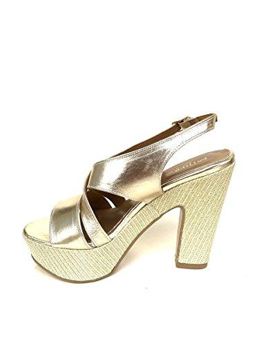 Scarpe sandali zeppa NN873 in pelle oro tacco lato plateau MainApps Oro