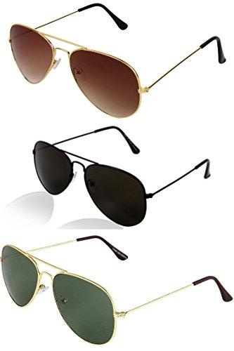 Sheomy Stylish sunglasses 3 Combo Set of 3 UV Protect Aviators Unisex sunglasses & goggles for Men/Women with three Boxes (Golden Brown | Full Black | Golden Green)