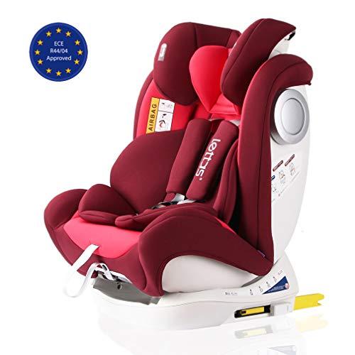LETTAS Baby Kindersitz Autokindersitz Gruppe 0+1/2/3 (0-36 kg/0-12 Year) mit Protektoren seitliche Isofix Top Tether ECE R44/04 (Rot-2)