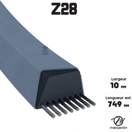 Courroie tondeuse Z28 Trapézoïdale - 10 mm x 749 mm - Pièce neuve