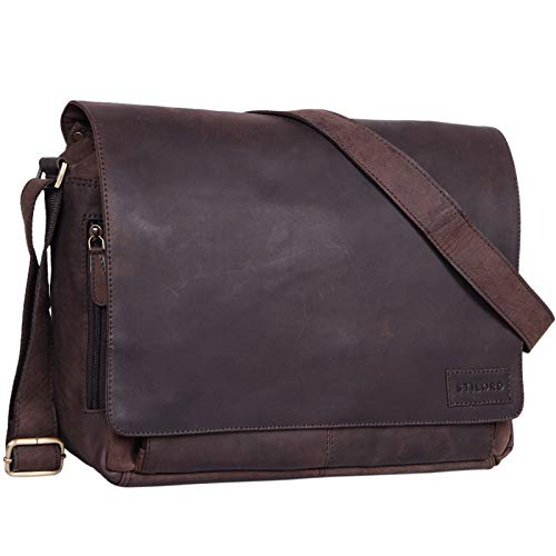 STILORD \'Rick\' Schultertasche Leder für 15,6 Zoll Laptop Umhängetasche Aktentasche Bürotasche Unitasche Büffel-Leder, Farbe:matt - Dunkelbraun