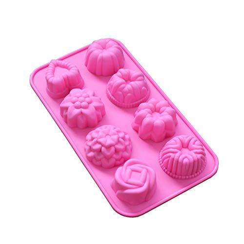 3D Kuchen Dekorieren Formen Silikon, routinfly Rose Blume Kuchen Dekor Werkzeuge Seife Fondant Formen Tablett für DIY Handwerk Schokolade Cookie Backform (Rosa, 1 Stück) - 2 Stück Schokolade Vinyl
