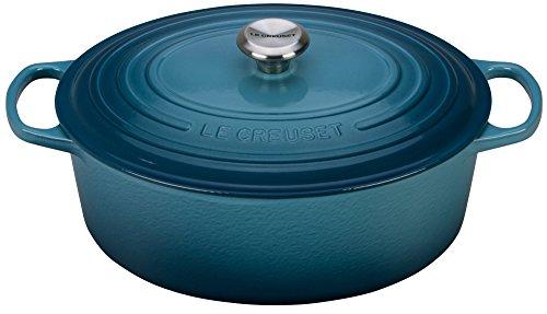 Le Creuset of America emailierten Gusseisen Signature Oval Dutch Oven 8 quart marineblau