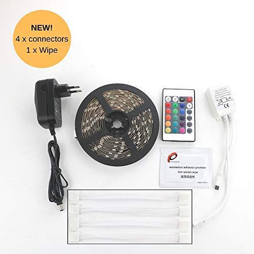 RGB LED-Band/LED Streifen (Strip), 3 meter, LED-Band mit Fernbedienung, 4 x Verbinder, 1 x Tücher, 20.000 Stunden, warmweiß