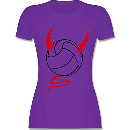 Volleyball - Teufel Volleyball Teuflischer - tailliertes Premium T-Shirt mit Rundhalsausschnitt für Damen Lila
