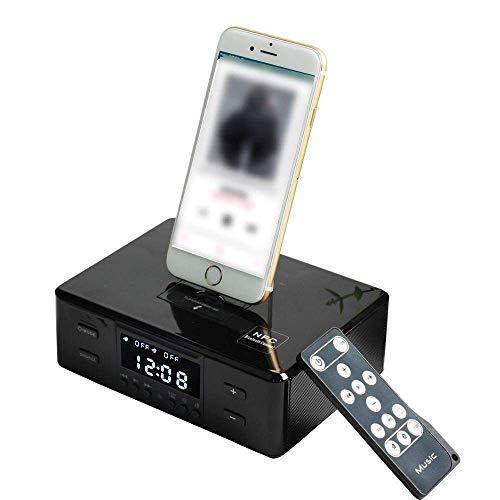 LIGHTOP Drahtloser Bluetooth Lautsprecher Doppelter Wecker Docking Station UKW Radio Mit Fernbedienung Ladestation DREI-in-Eins-Drehladebasis Für jedes iPhone Android iPad iPod Lade und Wiedergabe