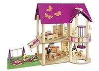 howa Puppenhaus aus Holz incl. 22 tlg. Möbelset und 4 Puppen