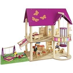 howa - Casa de muñecas con 22piezas de mobiliario y 4 muñecas 70041