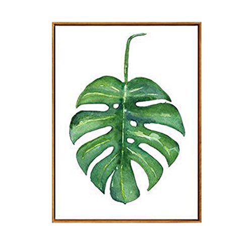 Cuadro conciso con diseño rural con hojas y plantas verdes, de AchidistviQ, pintura moderna, decoración de pared, 9#, 13cm x 18cm