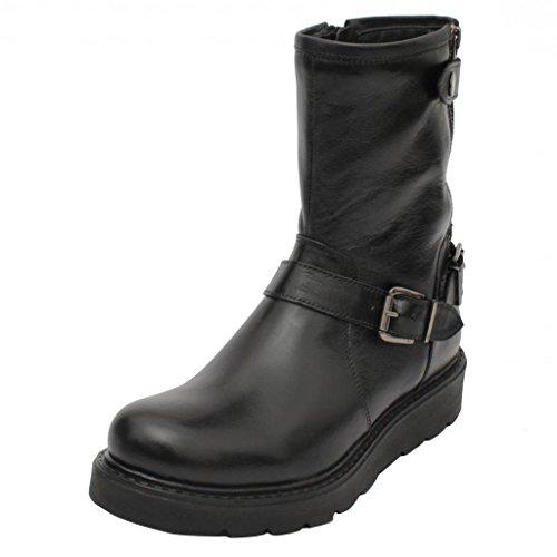 salt n pepper Black Real Leather Women's Boots