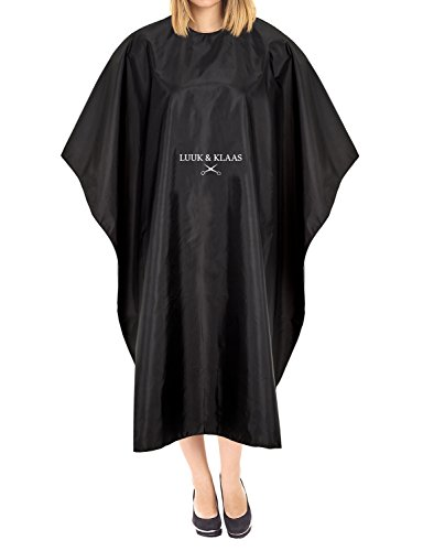 LUUK & KLAAS bata de peluquería con velcro en negro | capa de barbero | cobertor de tela para peluquería