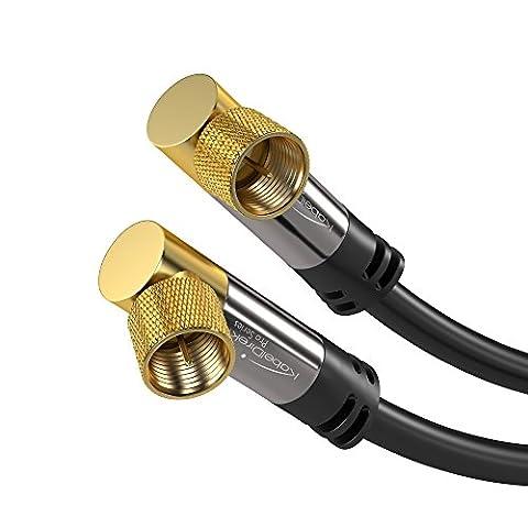 KabelDirekt SAT Kabel 90° gewinkelt F-Stecker (10m 75 Ohm, F-Stecker Koaxialkabel geeignet für TV, HDTV, Radio, DVB-T2, DVB-C, DVB-S, DVB-S2 – PRO Series)