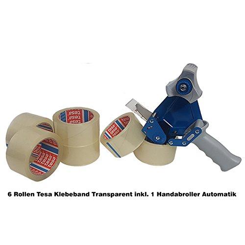 tesa Klebeband / Paketband, 66 m x 50 mm (Transparent, 6 Rollen, inkl 1 Handabroller Automatik)