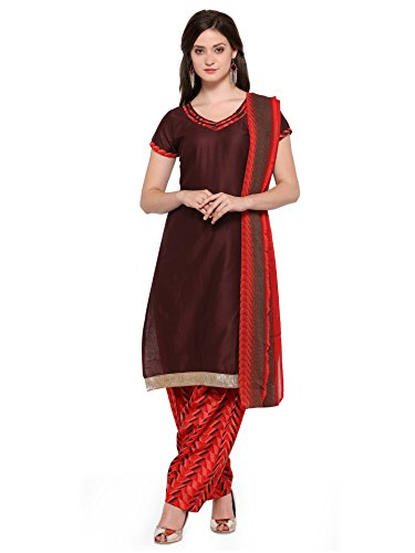 Ishin Poly Cotton Brown & Red Solid Party Wear Wedding Wear Casual Wear Bollywood New Collection Latest Design Trendy Unstitched Salwar Suit Dress Material (Anarkali/Patiyala) With Dupatta  available at amazon for Rs.999